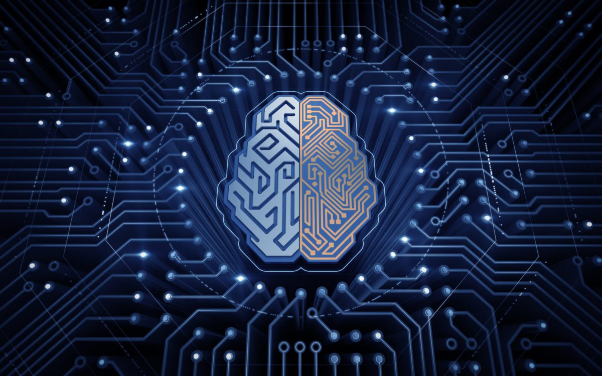 cerebro electronico en azul